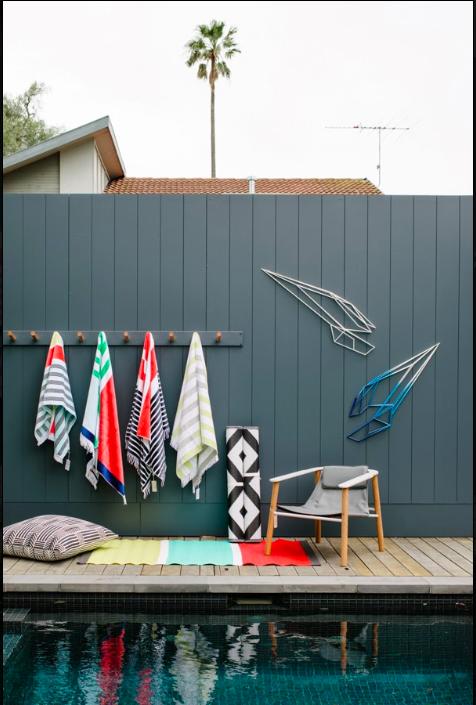 DIY pool towel storage