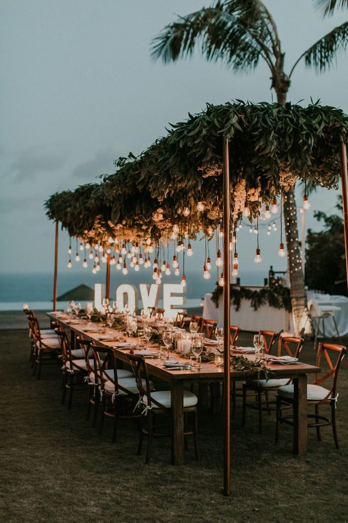 beach night wedding