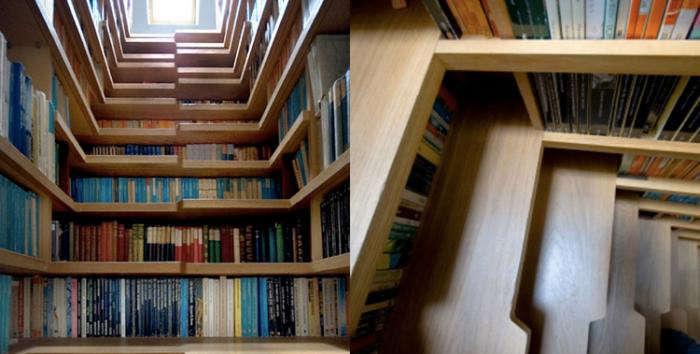 staircase book storage idea