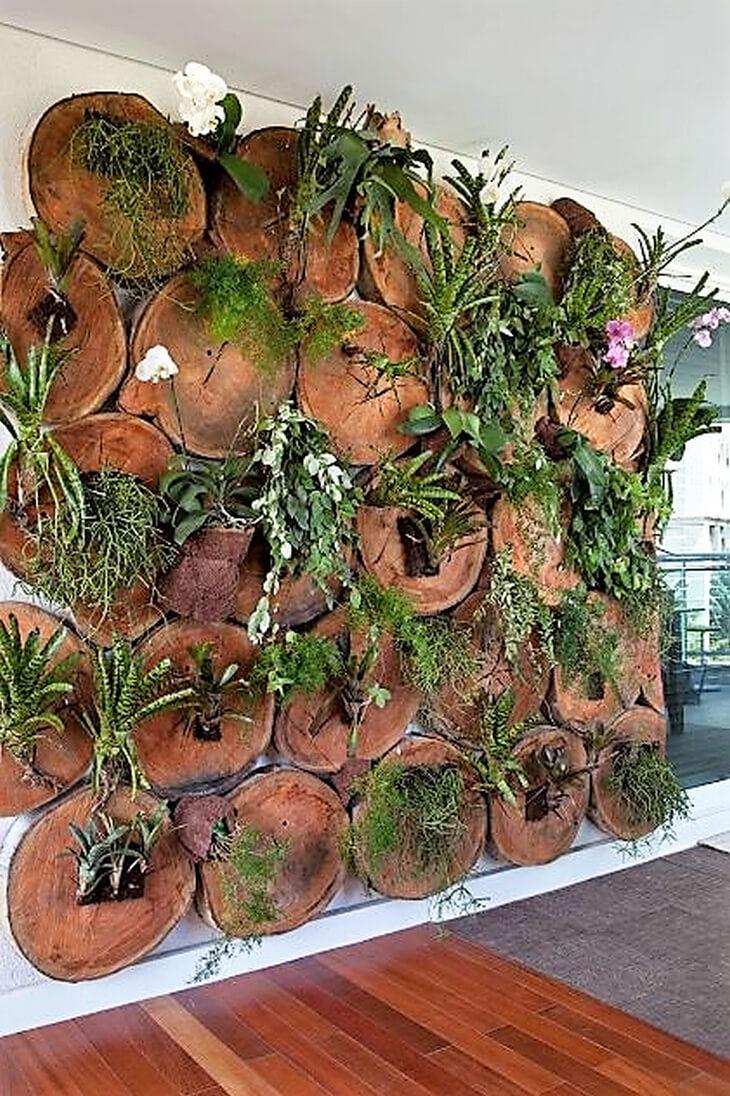 log vertical garden