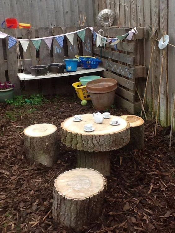 outdoor log seats