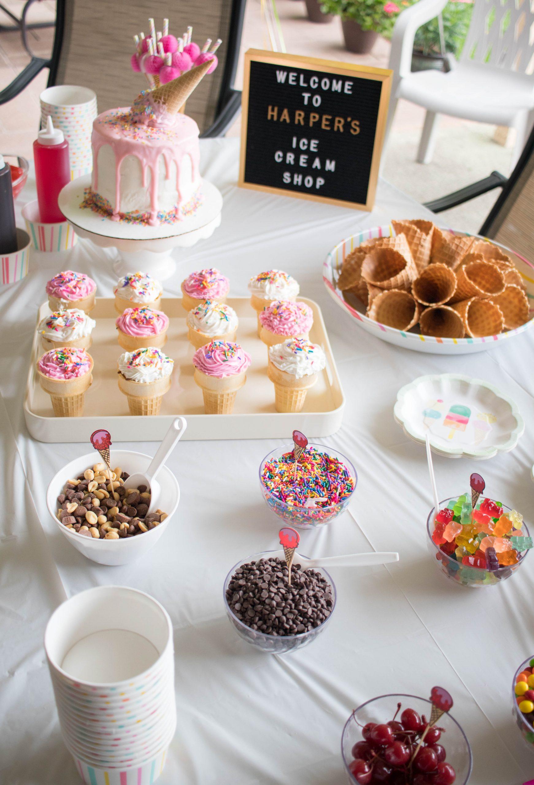 ice cream party dessert table