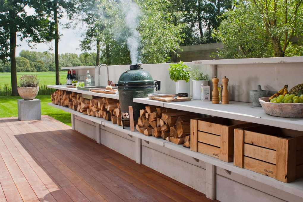 contemporary backyard kitchen