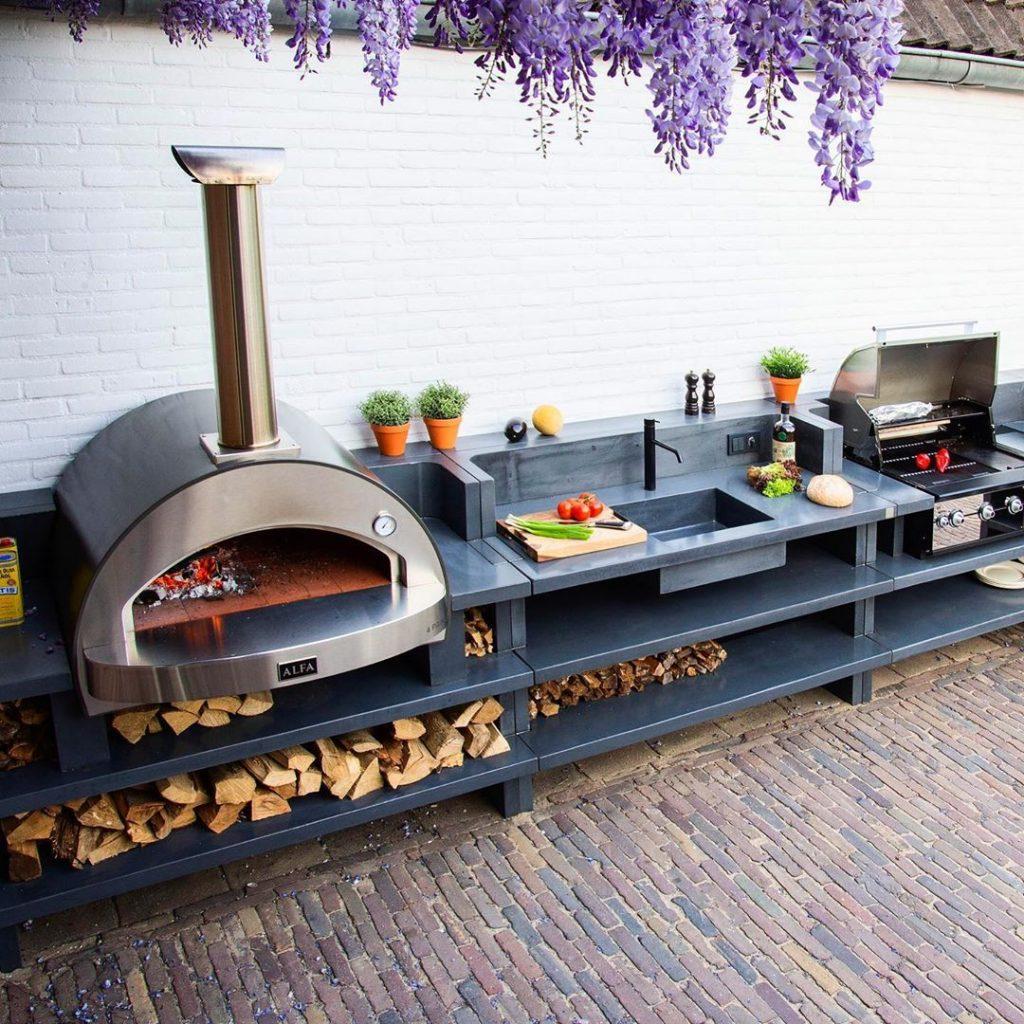 super modern backyard kitchen